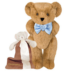 It's a Boy Bowtie Teddy Bear with Buddy Blanket