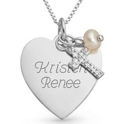 Sterling Silver Heart, Cross and Pearl Necklace