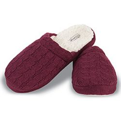 Plum Cable Knit Slippers