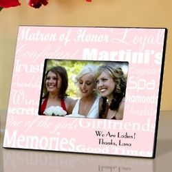 White and Pink Matron of Honor Personalized Picture Frame