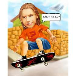 Skateboard Personalized Caricature Art Print