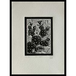 Mexico Folk Art Signed Black and White Etching Print