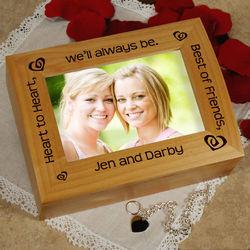 Heart to Heart Best Friends Photo Trinket Box