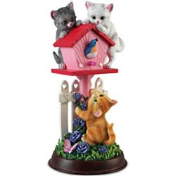 Sweet Serenade Kitten and Birdhouse Sculpture