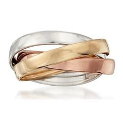 Tri-Color Rolling Band in 14kt Gold