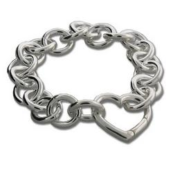 Tiffany Style Silver Round Link Heart Clasp Bracelet