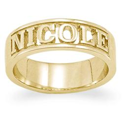 Personalized 18K Gold Over Sterling Carved Name Band