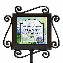 Personalized Hydrangea Ceramic and Iron Garden Stake