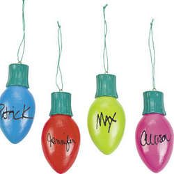 12 Colorful Christmas Bulb Ornaments