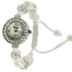 White Austrian Crystal and Pearl Shamballa Style Watch