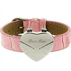 Pink Secret Message Heart Envelope Locket Bracelet