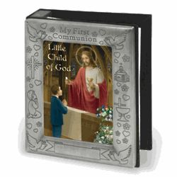 Pewter First Communion Photo Album for Boy