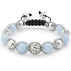Aquamarine and Bali Bead Shamballa Inspired Bracelet