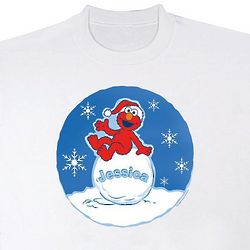 Personalized Elmo on a Snowball Youth Sweatshirt