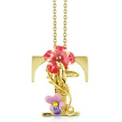 Floral T Charm Necklace