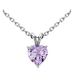 8mm Lavender Amethyst Heart Pendant in Sterling Silver