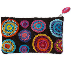 Embroidered Circles Pouch