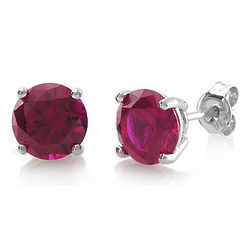 Sterling Silver Round Ruby Cubic Zirconia Solitaire Earrings