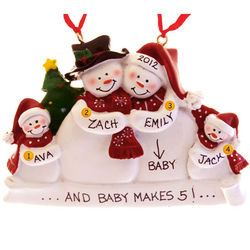Personalized Pregnant Snow Family 4 Christmas Ornament