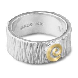 Myron Panteah Sterling Silver and 14K Gold Ring Band