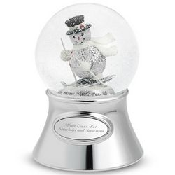 Skiing Holiday Snowman Snow Globe