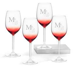 Red Wine Glasses with Monogram