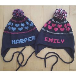 Personalized Kids Ear Flap Hat with Hearts