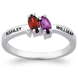 Sterling Silver Couple's Marquise Birthstone Name Ring