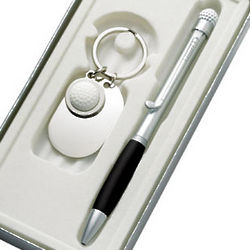 Personalized Golf Key Chain & Ball Point Pen Gift Set