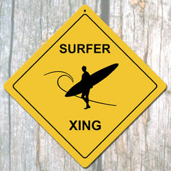 Surfer X-ing Man Metal Sign