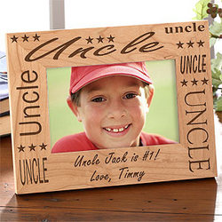 Custom Engraved Uncle Wood Picture Frame