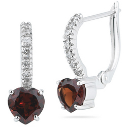 Diamond and Garnet Heart Earrings in 14K White Gold