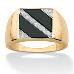 Gold Over Silver Diamond Men's Ring