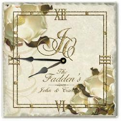 Personalized Magnolia Tumbled Tile Clock with Wrought Iron Stand