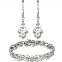 Cubic Zirconia Filigree Earrings and Bracelet