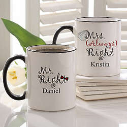 Mr. and Mrs. Right Personalized Wedding Coffee Mug Set