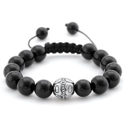 Black Onyx and Bali Bead Shamballa Inspired Bracelet