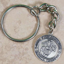 Personalized St. Michael Marines Medallion Key Ring