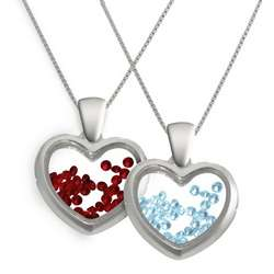Floating Birthstone Heart Necklace with Jewelry Box