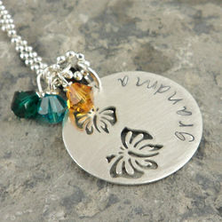 Butterfly Cutout Personalized Hand Stamped Necklace