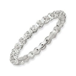 Stackable Sterling Silver Diamond Band
