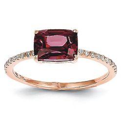 14K Rose Gold Diamond and Rhodolite Garnet Ring