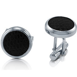 Stainless Steel with Black Leather Button Shaped Cufflinks