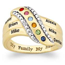 Mother's My Family My Heart Name and Birthstone Diamond Ring