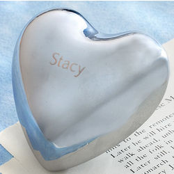 Engravable Polished Nickel Chiming Heart
