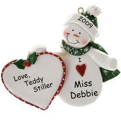 'I Love' Snowman Heart Personalized Ornament