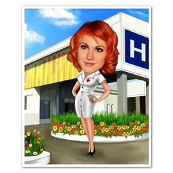 Sexy Nurse Custom Photo Caricature Print