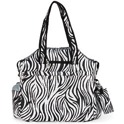 White and Black Racing Stripes Tennis Tote