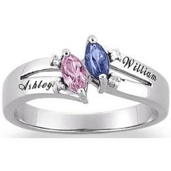 Couple's Marquise Birthstone Name Ring with Diamond Accent