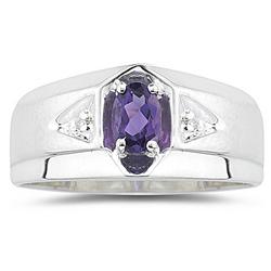 0.01 Ct Diamond & 0.47 Ct Amethyst Men's Ring in Silver